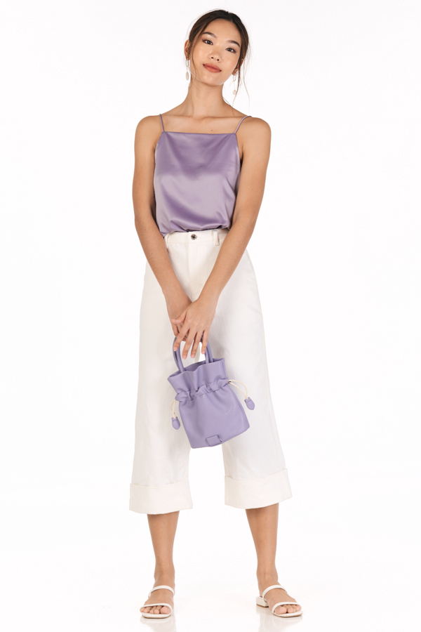 *Backorder* Bayson Satin Two Way Top in Lavender