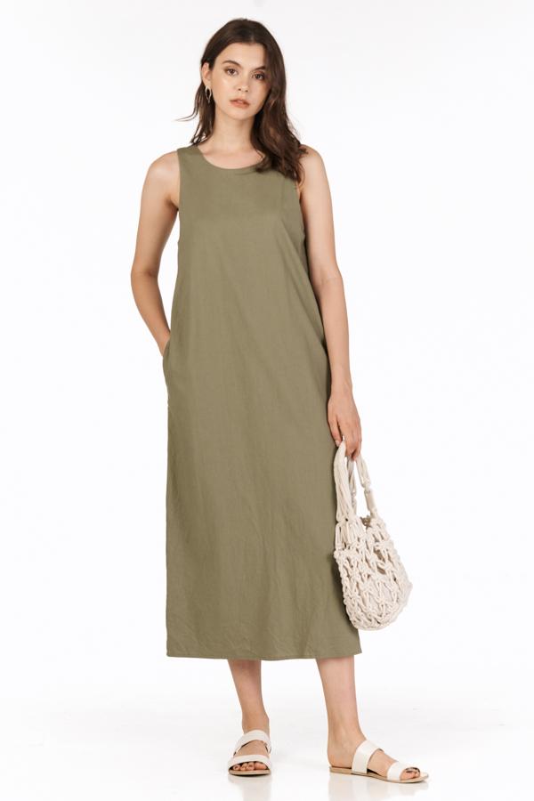 Harold Two Way Midi Dress in Olive
