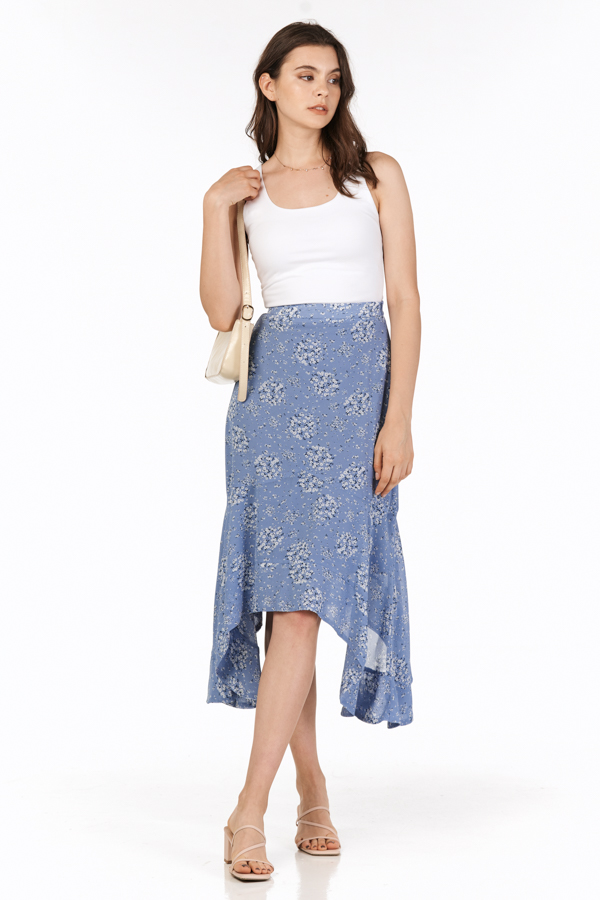Cassa Ruffled Midi Skirt in Cornflower Blue