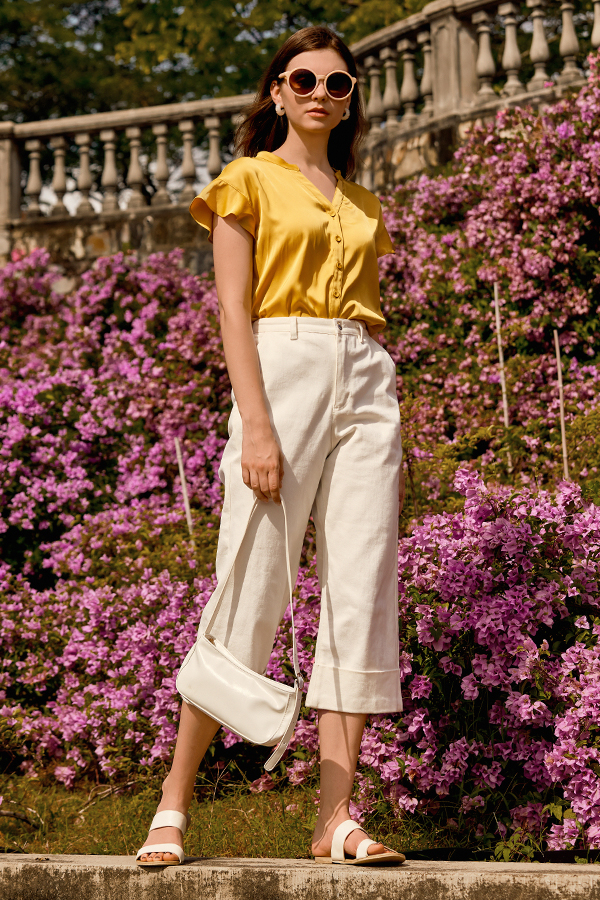 *Restock* Glendale Denim Culottes in White