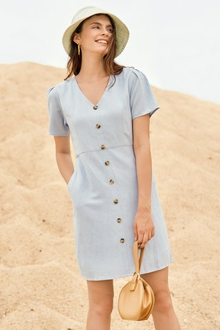 Betha Linen Dress in Light Blue