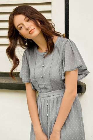 Elowen Dotted Dress in Dusty Blue