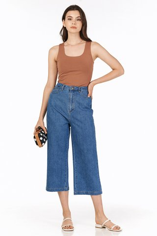 Deley Denim Culottes in Dark Wash
