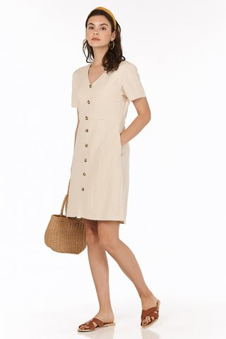 Betha Linen Dress in Khaki