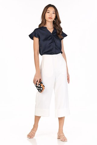 Mairi Buttoned Top in Navy