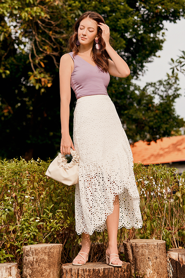 *Backorder* Carinna Crochet Midi Skirt in White
