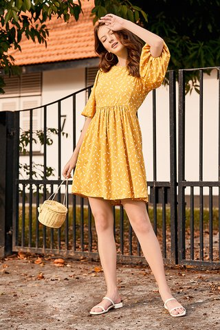 Bianca Sleeved Babydoll Dress in Mustard