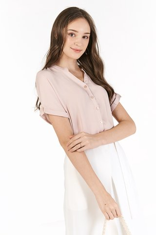 *Backorder* Rinn Buttoned Top In Nude Pink