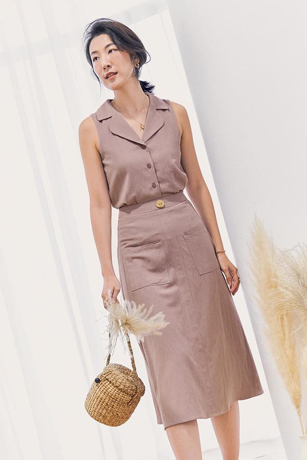 Mckelle Linen Midi Skirt in Lavender