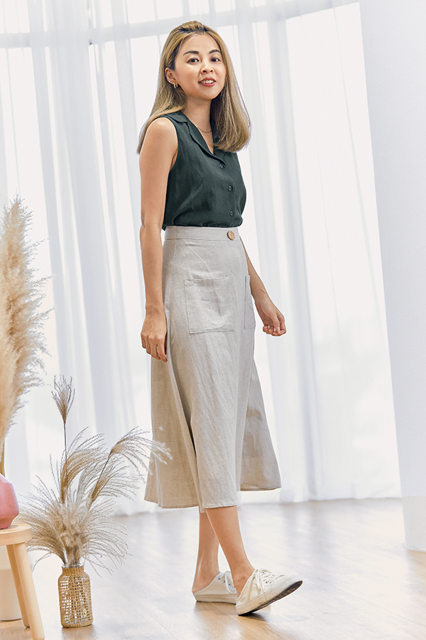 Mckelle Linen Midi Skirt in Moonbeam