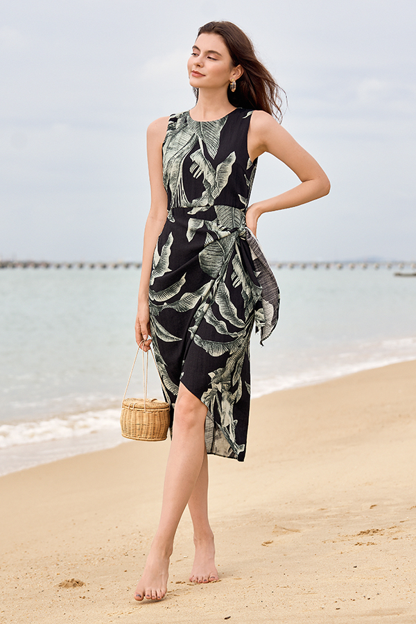 Cailla Linen Midi Dress in Black