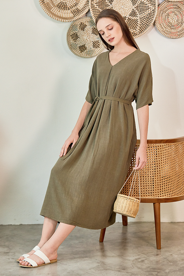 Brook Linen Midi Dress in Olive