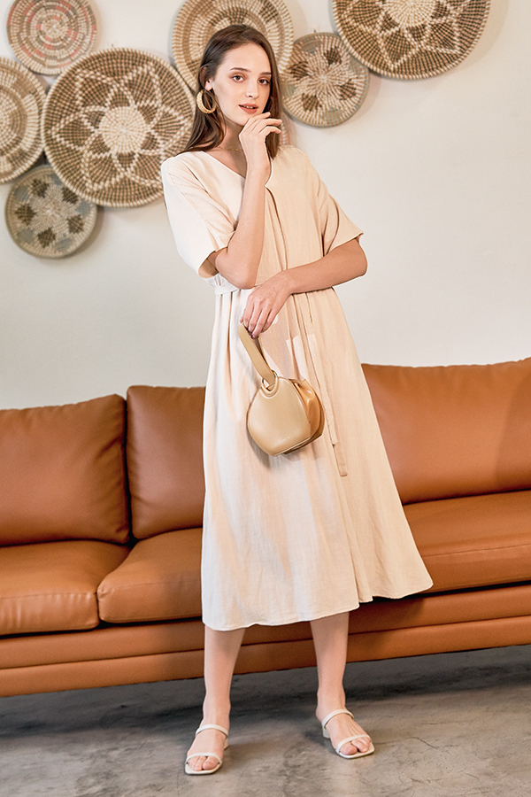 Brook Linen Midi Dress in Moonbeam