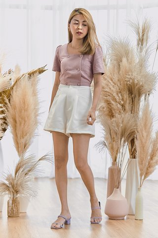 Evet Linen Sleeved Top in Lavender