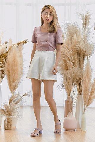 Evet Linen Sleeved Top in Lavender