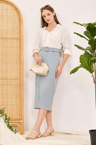 Bretta Gingham Belted Skirt in Stone Blue