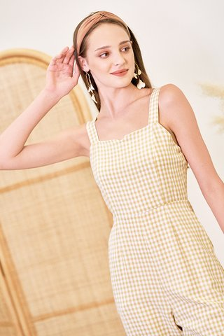 Bretta Gingham Jumpsuit in Khaki