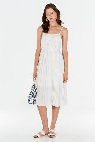 Edira Pleated Midi Dress in White