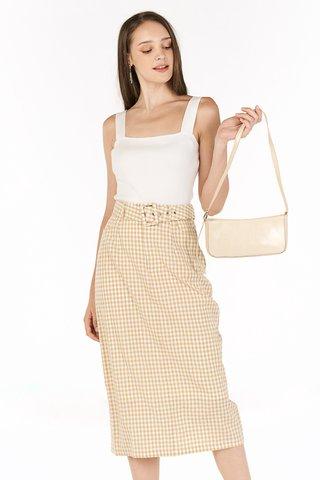 Bretta Gingham Belted Skirt in Khaki