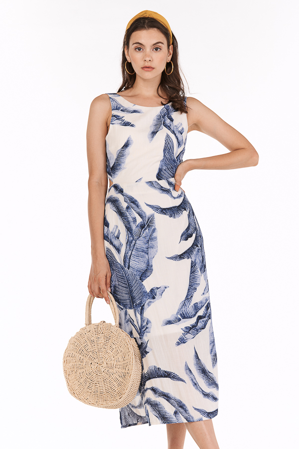 Cailla Linen Tie Back Midi Dress in Blue