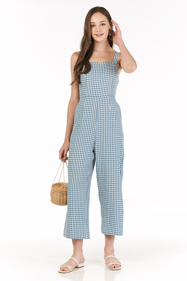Bretta Gingham Jumpsuit in Stone Blue