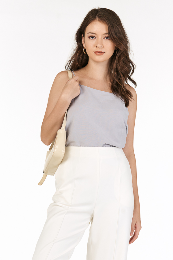 *Backorder* Erin Two Way Linen Top in Ash Lilac
