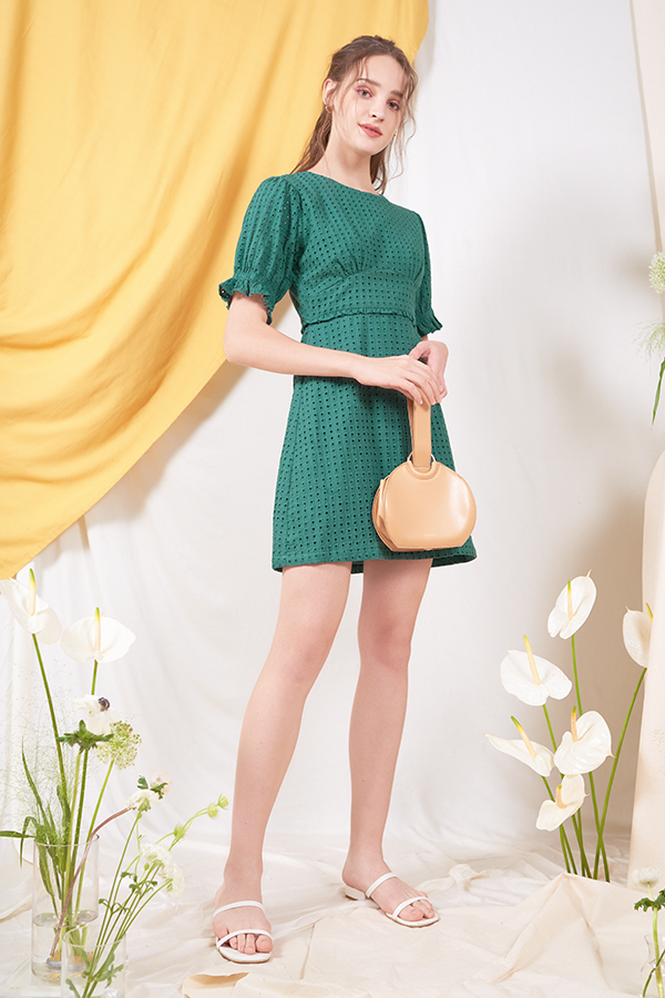 Klaire Eyelet Dress in Forest