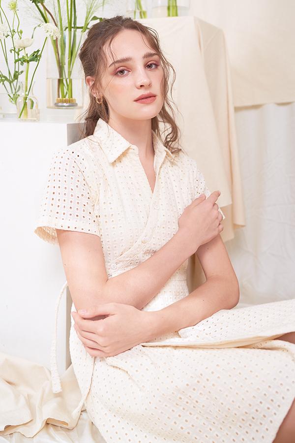 Klaire Eyelet Wrap Dress in Cream