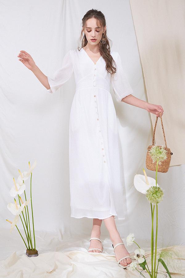 Lually Maxi Dress in White