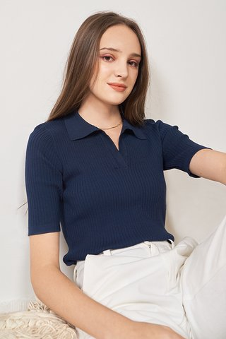 Corrie Knitted Top in Navy