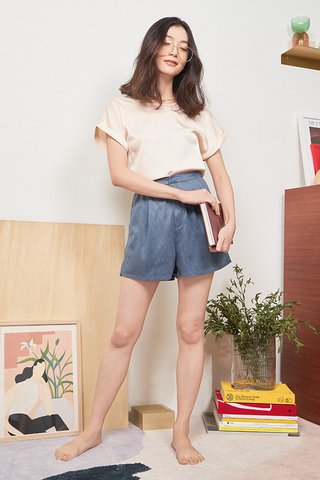 Faye Suede Shorts in Blue