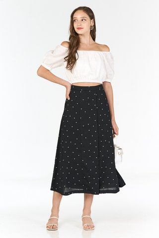 Minford Dotted Midi Skirt in Black