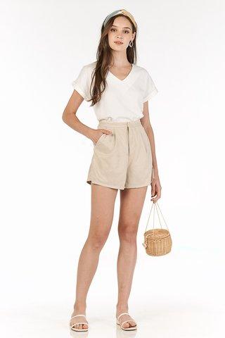 Faye Suede Shorts in Khaki