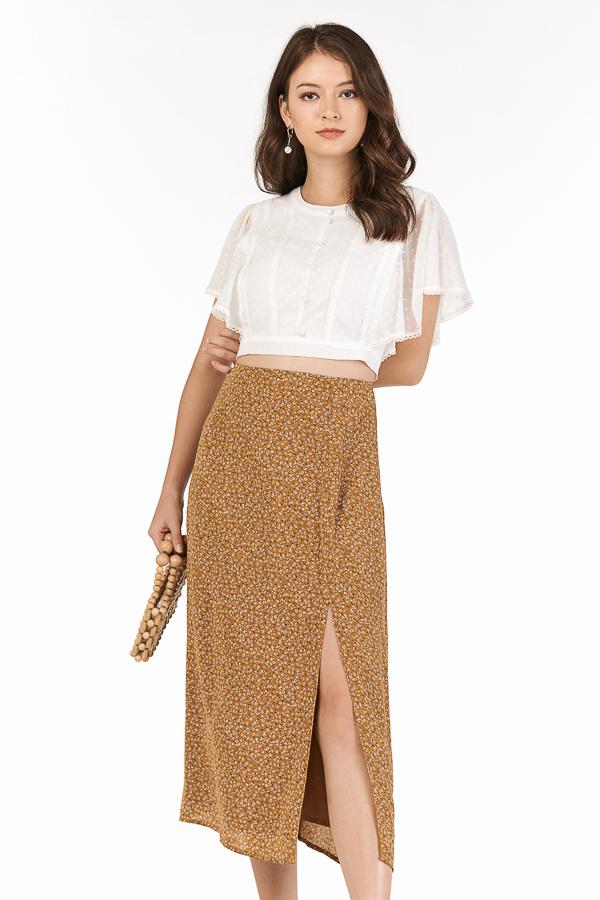 Louetta Midi Skirt in Mustard