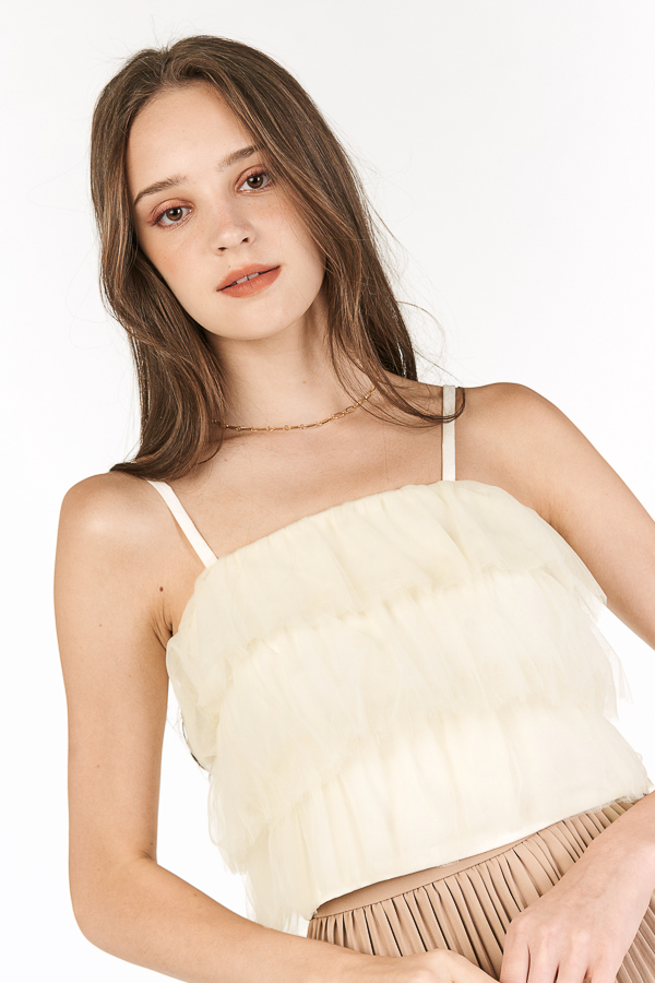 Calista Tulle Top in Cream