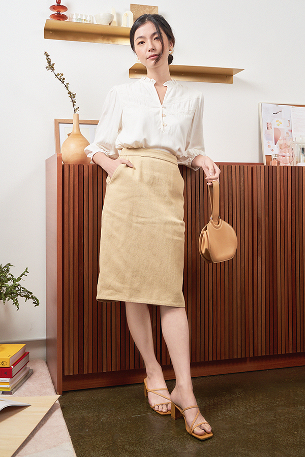 Carmel Denim Skirt in Khaki