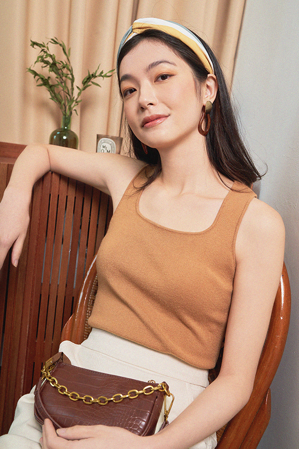 *Restock* Kendie Square Neck Knitted Top in Caramel