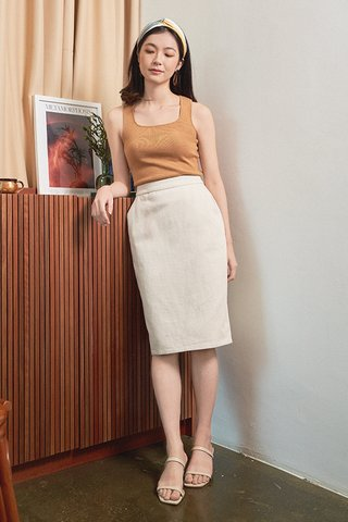 Carmel Denim Skirt in Cream