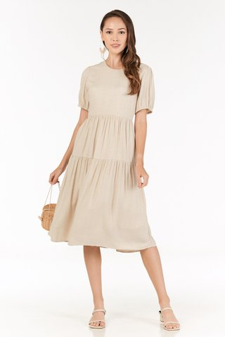 Fiore Midi Dress in Khaki