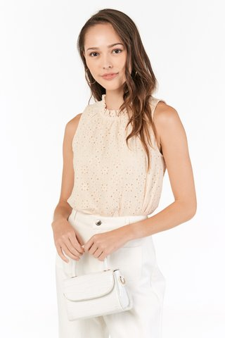 Hanne Eyelet Top in Cream
