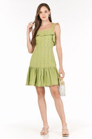 Merlyn Eyelet Dress in Pistachio