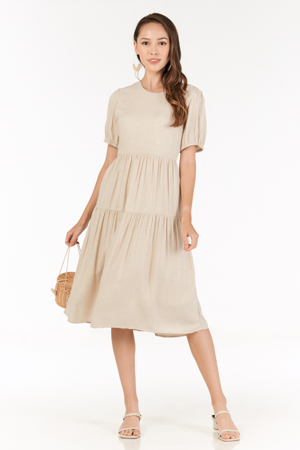 Fiore Midi Dress in Khaki