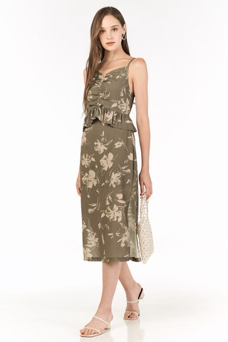 Analia Midi Dress in Olive