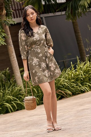 Analia Sleeved Dress in Olive