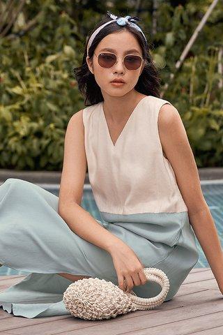 Blaine Colourblock Two Way Midi Dress in Cream