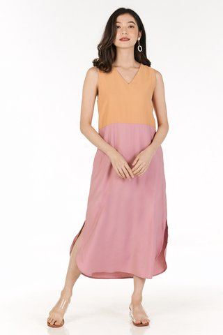Blaine Colourblock Two Way Midi Dress in Orange