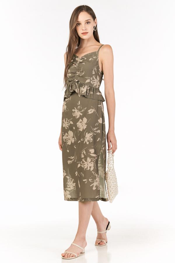 Analia Midi Dress in Olive