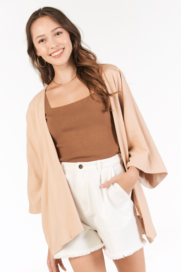 Bayside Reversible Kimono in Nude & Khaki