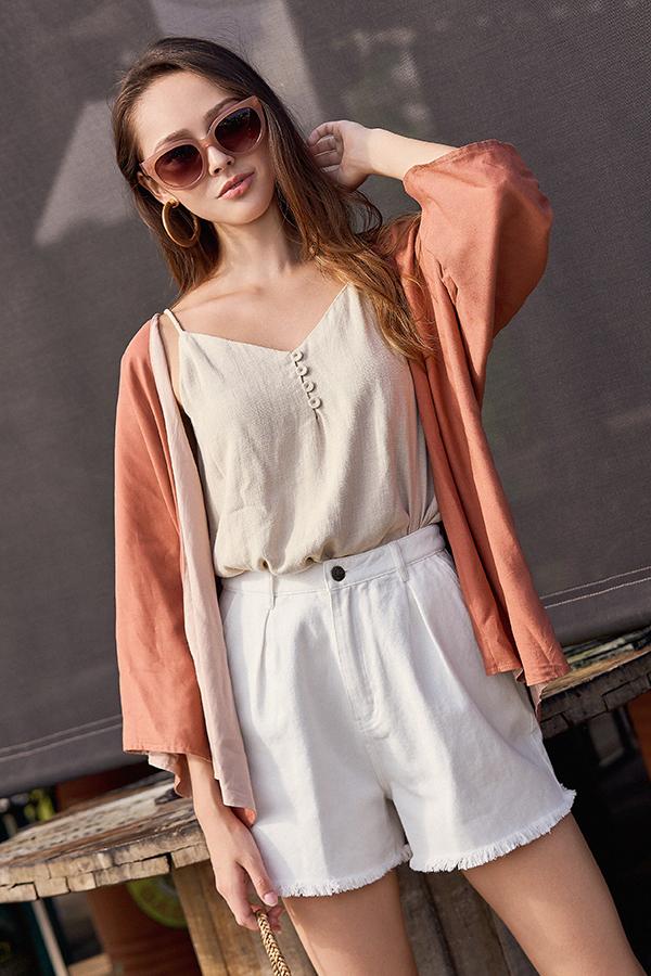 Bayside Reversible Kimono in Rust & Nude Pink