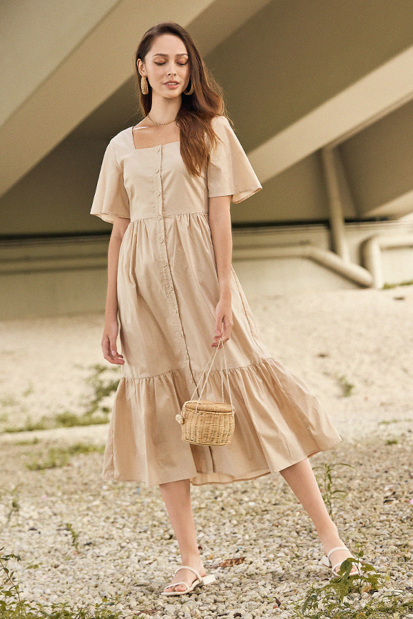 Casita Midi Dress in Khaki